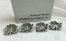 4 Butterfly Pewter Vtg 1975 Metzke Single Business Card Desk Table Stand Display