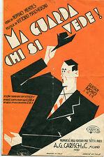 SPARTITO,1929,MA GUARDA CHI SI VEDE,MASCHERONI,CARISCH,FUTURISMO,SANTAMBROGIO