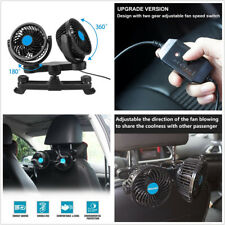 360° Rotating Mini DC12V Dual Head Car Rear Seat Headrest Cooling Air Fan Cooler