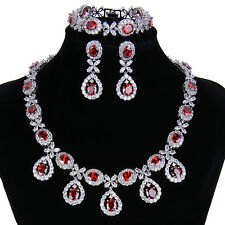 Gorgeous Red High Quality Cubic Zirconia Chain Teardrop Classic Jewelry Set Prom
