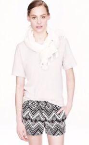 "J. CREW Diamond Ikat Shorts Black Ivory Cream 3"" Inseam Flat Sz 00 #A2647"