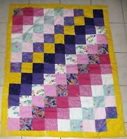 """Quilt  Multi Color w Turquoise Back about 40x48"""" Baby Crib Lap Doll Blanket Toss"""