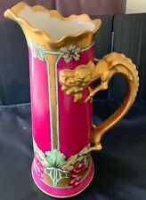 RARE J.P.L LIMOGES HAND PAINTED 15 in TANKARD PINK GOLD GRAPES DRAGON HANDLE