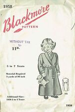 Factory Folded Vintage 40s Blackmore Girls Dressing Gown BLK 1958 size 5-7yrsSwa