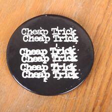 """Original Vintage Cheap Trick Band Logo 3"""" White On Black Pin Button"""