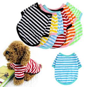 Summer Pet Dog Puppy Clothes Striped Round Neck Warm Winter T-shirt Jumper Vest