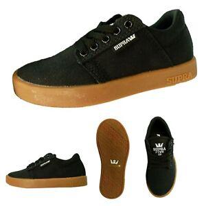 SUPRA Kids Westway Schuhe Sneaker Freizeit Skater Canvas Schwarz Größe 30