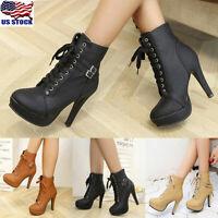 Women Lace Up Buckle Stiletto High Heels Ankle Boots Ladies Platform Boots Shoes
