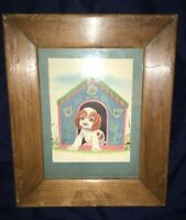 Vintage Picture Frame With Puppy Print