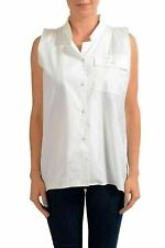 Maison Margiela White Sleeveless Women's Button Down Shirt US s IT 40