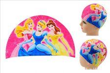 Princess Lycra Cartoon Swimming Bathing Cap Hat for Children Kids Girl