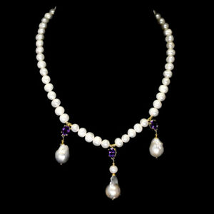 Unheated Oval Purple Amethyst 9x7mm Pearl 925 Sterling Silver Necklace 18 Inches
