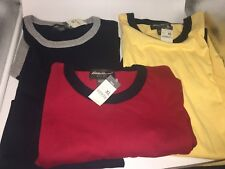 New Lot of 3 Mens Tall XL Eddie Bauer Ringer Tee - NWT -  Navy, Red & Yellow