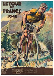 VINTAGE 1948 TOUR DE FRANCE A4 POSTER PRINT