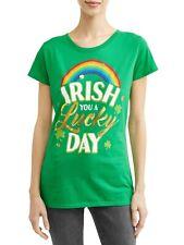 Women's St. Patrick's Day Luck Rainbow Graphic T-Shirt Love Shamrock