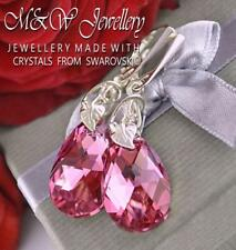 925 Sterling Silver Earrings Crystals From Swarovski® Pear/Almond Rose CAL 22mm