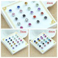 10Pairs Women Rhinestone Crystal Earrings Avoid Allergy Ear Stud Jewelry--