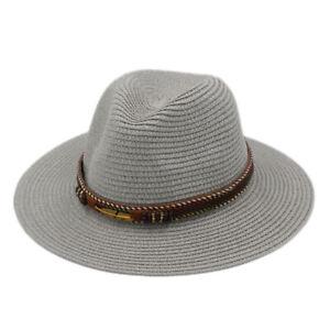 Unisex Straw Panama Roll up Hat Wide Brim Fedora Beach Sun Hat UPF50+ Brown Belt