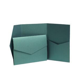 Emerald Green Pearlescent Pocketfold Invites with envelopes. Pocket cards