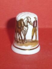 FARMER leading White and Brown HORSES Thimble by Longton Hall