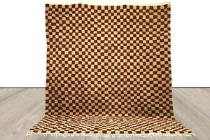 Brown Checkered area rug, Moroccan berber checkerrug, custom checkerboard rug