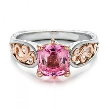 2.47 CT PINK SAPPHIRE WITH DIAMOND ENGAGEMENT RING SOLID 14KT WHITE GOLD