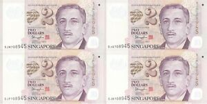 Singapore set of 4 p46f Two Dollars (2 Diamonds) w/ Identical Serial Numbers UNC