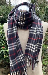 BURBERRY. CLASSIC VINTAGE CHECK SCARF -100% SOFT -CASHMERE BLUE CHECK -SECOND