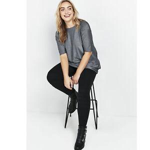 Evans Womens Black Ponte Stitch Leggings Slim Fit Slip On Pants Bottoms