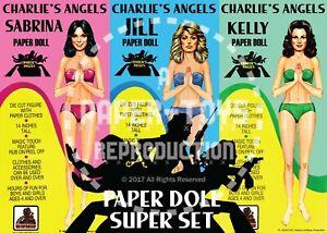 CUSTOM VINTAGE REPRINT - CHARLIE'S ANGELS PAPER DOLLS SUPER SET