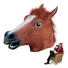 Realistic Horse Head Masks Full Head Fur Mane Latex Creepy Animal Mask Props