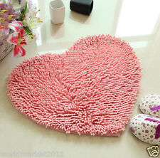 Simple Coral Fleece Thickened Non-Slip Bathroom Absorbent Mat Heart-Shaped Pink