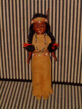 VINTAGE AMERICAN INDIAN DOLL W/BABY IN PAPOOSE, SUEDE DRESS, BELT, HEAD BAND + +