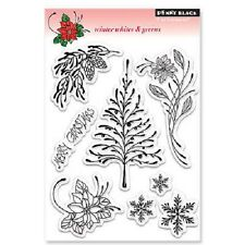 Penny Black Rubber Stamps Clear Winter Whites & Greens New clear Stamp Set