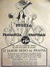 Nuevo Mundo EL JABON HENO de PRAVIA Perfume Soap 1924 Spanish Art Deco Ad Matted