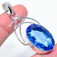 "Swiss Blue Topaz Handmade Gemstone Ethnic Style Jewelry Pendant 2.25"""