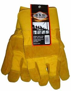 Mens B&G Heavy Work Insulated Fleece Pile Lined Leather Winter Gloves XXL 2XL