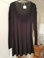 Pretty Ladies Black Fit & Flare Dress, Long Sleeves, Size S (10/12) NWT