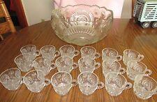 Antique EAPG Glass Slewed Horseshoe Punch Bowl+ 18 Cups/Mugs Vintage Wedding