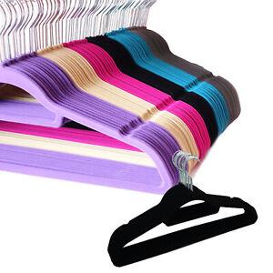 Velvet Coat Hangers Clothes Velour Flocked Non Slip Curved Trousers Dresses Slim