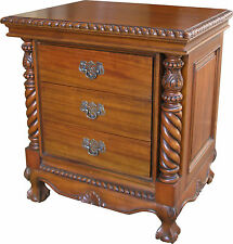 Solid Mahogany Chippendale Bedside Table / Cabinet with 3 drawers NEW BS031