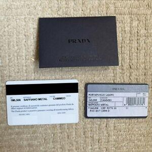Genuine Prada Purse Wallet Guarantee Card Saffiano Metal Cammeo Wallet