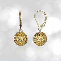 925 Sterling Silver Handmade Jewelry Filigree Ball Lever back Dangle Earrings