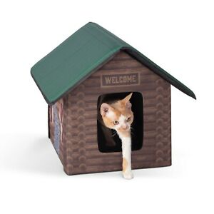 K&H Outdoor Heated Cat Kitty House Shelter LOG CABIN Design Brown w/ 2 Exits