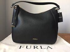 NWT FURLA Sienna Black Pebbled Leather Medium Hobo $478