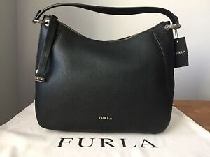 NWT FURLA Sienna Black Pebbled Leather Medium Hobo $478
