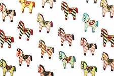 Horse Wooden Buttons Striped Pattern Two Holes Animal Shape Large Wood 100pcs