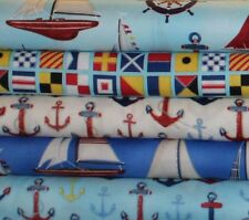 DOWN BY THE SEA NAUTICAL ANCHORS BOATS FABRIC BUNDLE 5 DESIGNS ** FREE OZ POST