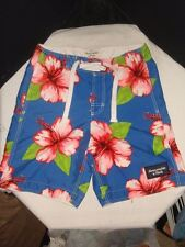 "ABERCROMBIE & FITCH MENS BOARD/SURF SHORTS BLUE FLORAL SZ. S / 8"" INSEAM"