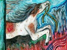 War Horse Paint Pinto Appaloosa Pony Art Print 8x10 Collectible Animal by Artist